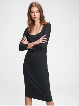 Černé dámské šaty modern squareneck dress