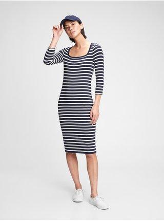 Modré dámské šaty modern squareneck dress