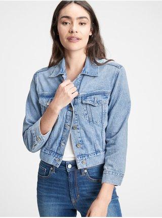 Modrá dámská džínová bunda v-crop relaxed icon jkt lt anita
