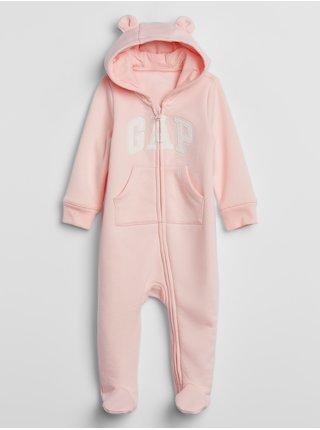Růžový holčičí baby overal GAP Logo v-g flc ftd