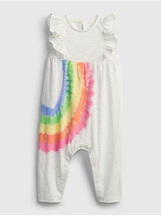 Bílý holčičí baby overal rainbow one-piece