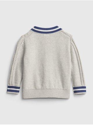 Šedý klučičí baby svetr cable-knit cardigan