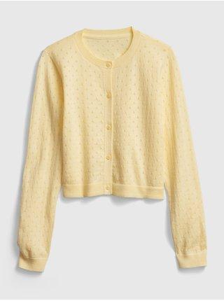 Žlutý holčičí dětský svetr knit cardigan