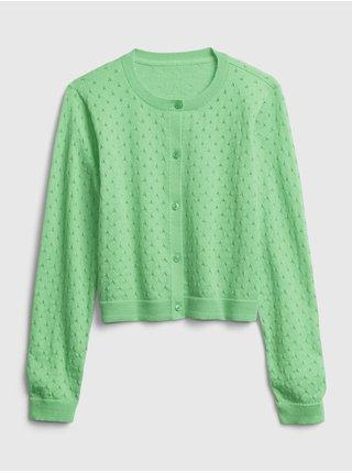 Zelený holčičí dětský svetr knit cardigan