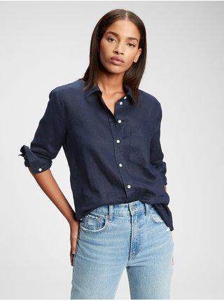 Košeľa linen boyfriend shirt Modrá