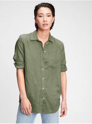 Zelená dámská košile ls linen bf sh