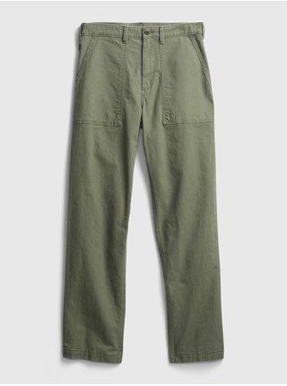 Zelené pánské kalhoty straight fit utility pant