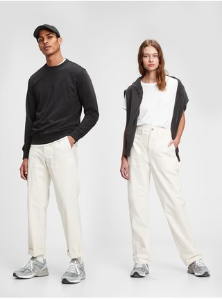 Nohavice utility pants in straight fit with GapFlex Smotanová