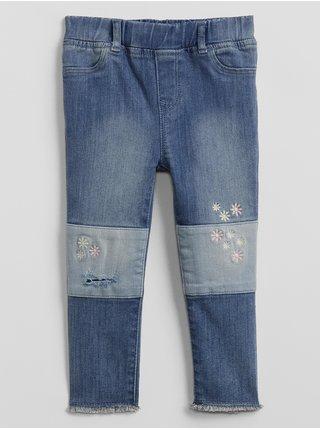Detské džínsy embroidered patch legging with stretch Modrá