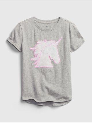 Detské tričko flippy sequin graphic t-shirt Šedá