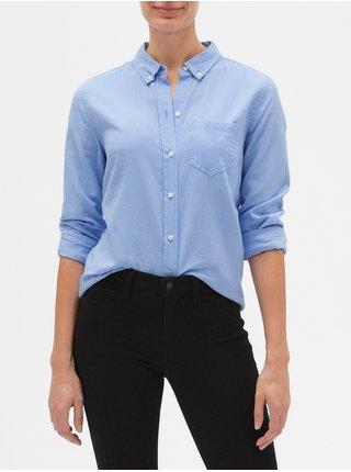 Modrá dámská košile v-fitted boyfriend oxf