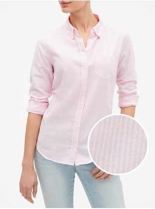 Košeľa fitted boyfriend shirt in oxford Ružová