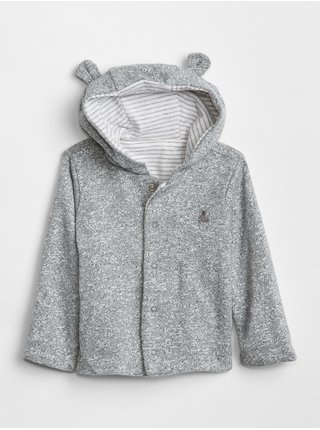 Šedá holčičí baby mikina favorite reversible bear hoodie sweat