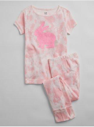 Detské pyžamo organic cotton bunny tie-dye pj set Ružová