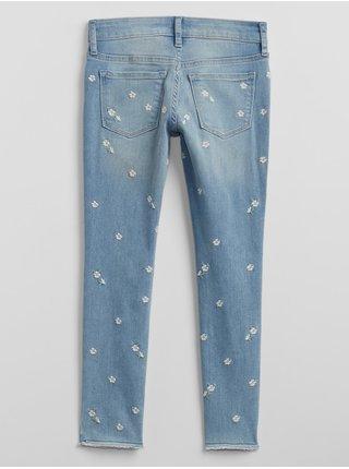 Modré holčičí dětské džíny v mid rise jegging embr