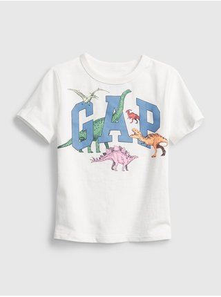 Bílé klučičí dětské tričko GAP Logo ss feb ptf log
