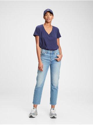 Modré dámské tričko organic vintage v-neck
