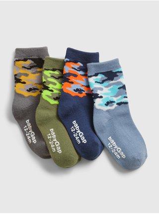 Barevné klučičí dětské ponožky camo crew socks, 4 páry