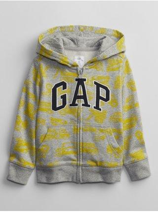 Žlutá klučičí dětská mikina GAP Logo v-ft prt fz
