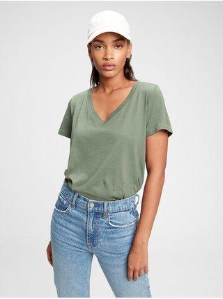 Zelené dámské tričko organic vintage v-neck