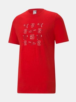 Červené pánske tričko s potlačou Puma