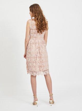 Svetloružové krajkové šaty VILA Manuela