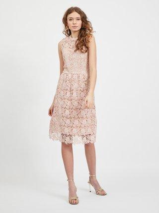Světle růžové krajkové šaty VILA Manuela