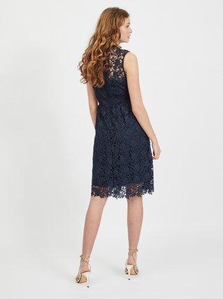 Tmavě modré krajkové šaty VILA Manuela