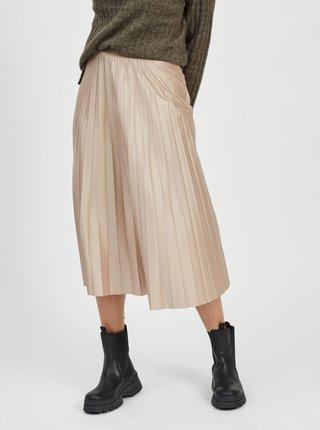 Béžová plisovaná midi sukně VILA
