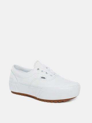 Biele dámske kožené tenisky na platforme VANS