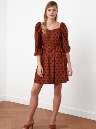Hnedé bodkované šaty Trendyol