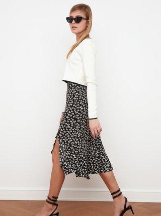 Černá květovaná sukně s rozparkem Trendyol
