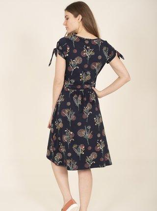 Tmavě modré květované šaty se zavazováním Brakeburn