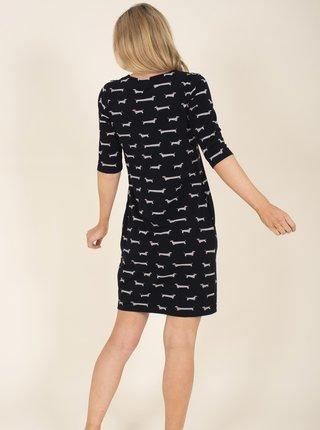 Čierne vzorované ľanové šaty s vreckami Brakeburn