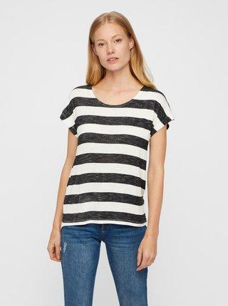Černo-bílé pruhované tričko VERO MODA Wide Stripe