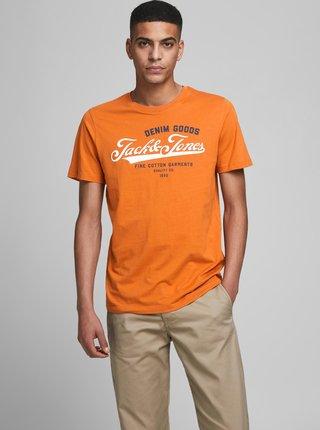 Oranžové tričko s potiskem Jack & Jones