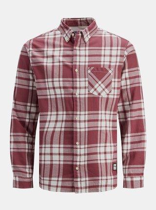 Vínová kockovaná košeľa Jack & Jones Layton