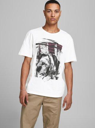 Biele tričko s potlačou Jack & Jones