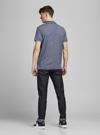 Tmavě modré žíhané polo tričko Jack & Jones