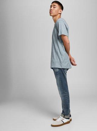 Světle modré žíhané basic tričko Jack & Jones Vance