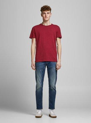 Červené žíhané basic tričko Jack & Jones Vance