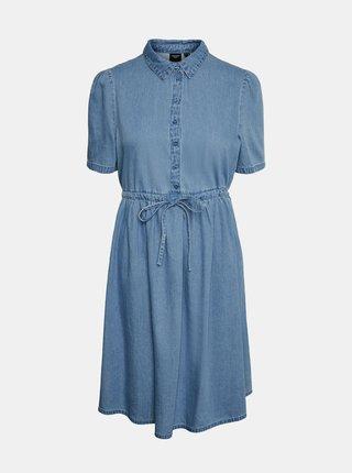 Modré džínové košilové šaty VERO MODA Ellie
