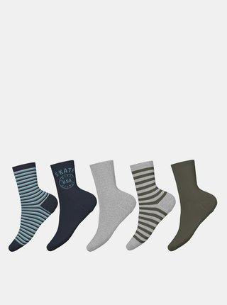 Sada pěti párů klučičích ponožek v šedé a modré barvě name it