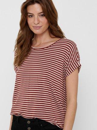 Hnedé pruhované tričko ONLY