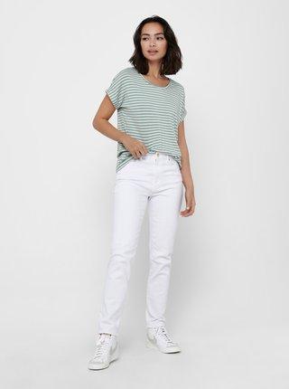 Světle zelené pruhované tričko ONLY
