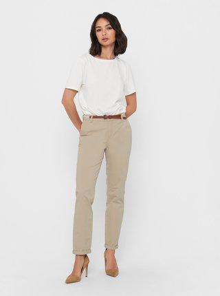 Béžové kalhoty s páskem ONLY Biana