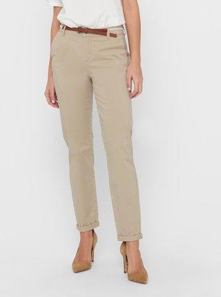 Béžové nohavice s opaskom ONLY Biana