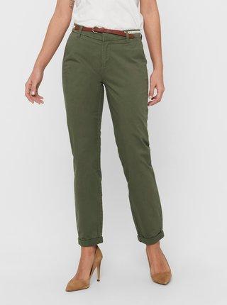 Zelené kalhoty s páskem ONLY Biana