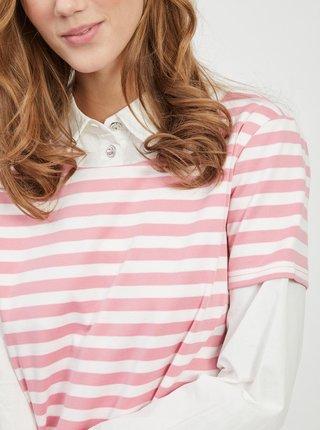Ružovo-biele pruhované šaty VILA