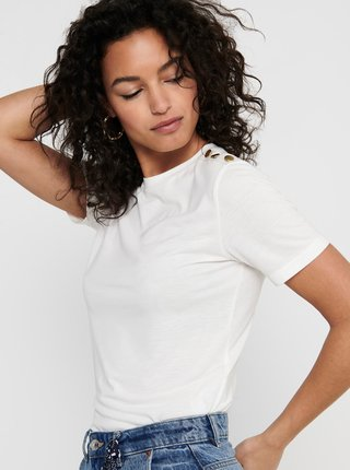 Bílé tričko s ozdobnými detaily Jacqueline de Yong London